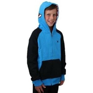 Hurley Boy's Blue Shark Hoodie Sweatshirt L